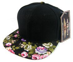 d55d052782e Blank Vintage Floral Snapback Hats Wholesale - Black Brim