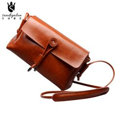 ==> [Free Shipping] Buy Best Women Oil Wax Cowhide Leather Messenger Bags Casual Candy Color Retro Crossbody Handbag School Female Vintage Button Bags Bolsas Online with LOWEST Price | 32782659312