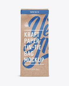 Kraft Paper Bag w/ a Paper Tin-Tie Mockup - Front View (Preview)