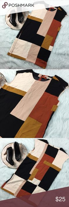 """Ann Taylor LOFT brown mod geometric shift dress Ann Taylor LOFT brown color block mod sleeveless Shift dress. Womens size medium, gently used with no flaws. Please see photos for exact details.  Armpit to armpit-21"""" Waist laying flat-19"""" Length-35"""" LOFT Dresses Mini"""