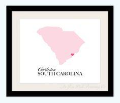 South Carolina State Love Map Silhouette 8x10 Print - Customized