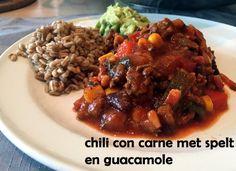 #Chiliconcarne met #spelt en #homemade #guacamole