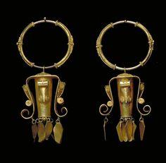 Indonesia ~ Sumatra Island, North Sumatra Province | Pair of earrings from the Batak people; gold. 19th century