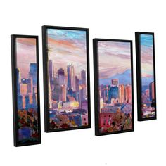 ArtWall 'Marcus/Martina Bleichner's Seattle Skyline with Space Needle' 4-piece Floater Framed Staggered Set