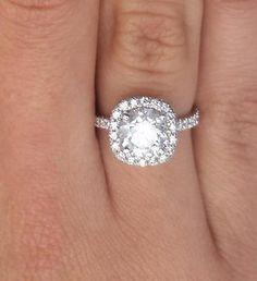 1.75 Ct Round Cut Diamond Engagement Ring SI1/D 14K White Gold Enhanced