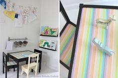 Creative Kids Corner, an IKEA table with black paint and washi!