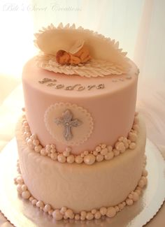 baby angel wings christening cake