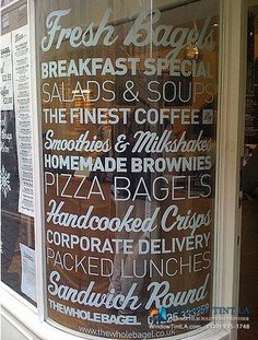 Attract more customers by adding window graphics to your office or retail store.We help you design, print & install window graphics for your store or office Menu Design, Cafe Design, Store Design, Bistro Design, Display Design, Cafe Window, Window Signage, Restaurant Signage, Menu Signage