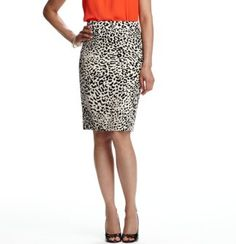 I love the orange with the white/black cheeta print! HOT!!    Cheetah Print Seamed Pencil Skirt - Ann Taylor Loft