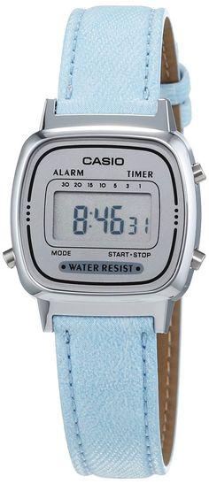 Casio - Vintage - Montre Femme - Quartz Digital - Cadran Gris - Bracelet Tissu Bleu de la boutique ElectronicsParther sur Etsy