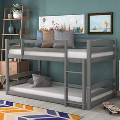 Perfect for a room, this twin-over-twin bunk bed saves space so you have plenty of room for activities. If your little ones outgrow the arrangement, just convert this piece into beds, one of which is lower to the ground. Bunk Beds For Sale, Low Bunk Beds, Kids Bunk Beds, Cool Toddler Beds, Traditional Bunk Beds, Two Twin Beds, Bunk Bed Designs, Bedroom Designs, Grey Bedding