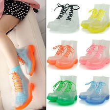 Women Candy Colorful Transparent Flats Ankle Rain Boots Crystal Jelly Shoes  I need these.