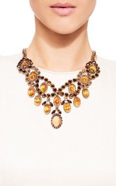 1950'S Schreiner Open Back Amber Stones Dangle Necklace by Carole Tanenbaum for Preorder on Moda Operandi