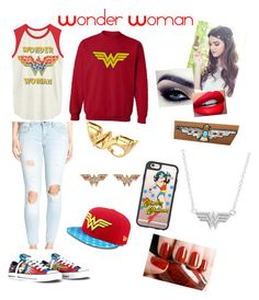"""""""Wonder Woman"""" by reaperchick ❤ liked on Polyvore featuring Noir, Casetify, Junk Food Clothing, Converse, Vigoss and Flash Tattoos"""