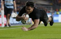 Early advantage: Nehe Milner-Skudder (pictured) of New Zealand scored the first try of the match to put his side up at half time World Cup Final, All Blacks, Rugby World Cup, Victorious, Finals, New Zealand, Competition, Australia, Barbarian