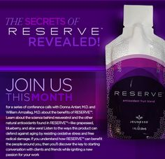 Reserve™ makes the feeling of youthful living last. This tasty gel contains powerful antioxidants including Resveratrol that repair free radical damage and protect cells against future harm. Your cells stay healthier, live longer, and leave you with the enduring effects of youth.  *30 Packets per box http://WorldofM.JeunesseGlobal.comhttps://worldofm.jeunesseglobal.com/products.aspx?p=RESERVE