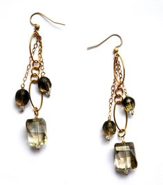 14k Gold Filled Chain Earrings with Citrine and by RawLuxGems, $36.00