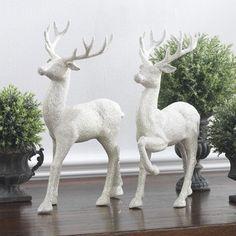 "RAZ Imports~12.5"" Winter White Glittered Standing Deer~Set 2~Christmas~Reindeer #RAZImports"