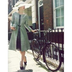 How to look chic on your bicycle this Spring - Allison's silk jacket worn with a grey French lace dress.#motherofthebride #ladies #tailoring