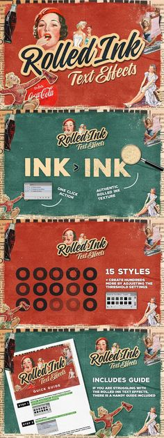 Rolled Ink Vector Text Effects. Vintage Design
