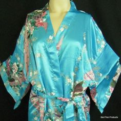 Chinese Silk Kimono Robe Gown Women's Sleepwear Peacock Floral Bathrobe Sky Blue | eBay