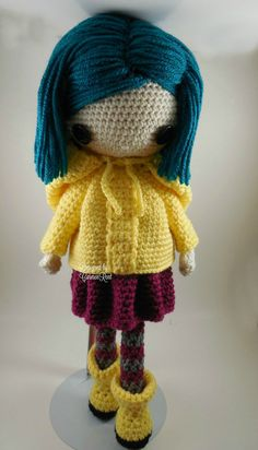 ATTENTION - Keep in mind that this is a crochet pattern in a PDF. This is NOT the finished product. From the movie Coraline directed by Henry Selick. Coraline Petite is approximately 17 inches tall. Also, please keep in mind that this doll cannot stand up on its own. This is a non-refundable purchase. Once the payment has been confirmed you will be allowed to download the pattern in a PDF. The language in the pattern is in English and Spanish only. The pattern includes all of the yarn co...