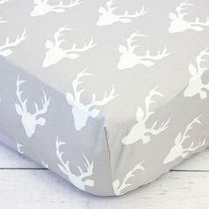 Woodlands Deer Crib Sheet Gray and White by CadenLaneBabyBedding