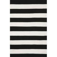 Liora Manne Sorrento Rugby Stripe Black & Ivory Indoor/Outdoor Area Rug & Reviews | Wayfair