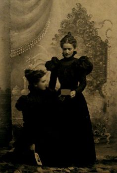 vintage image of sisters in mourning