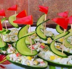 Nautical Themed Party Appetizers | Salad, Fun Food, Funfood, Recipes, Cucumber Boats, Kids, Foodart, Food ...