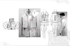 Fashion Portfolio - fashion design drawings, jacket development; fashion sketchbook