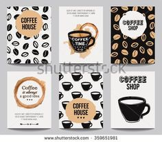 Vector set of modern posters with coffee backgrounds. Trendy hipster templates for flyers, banners, invitations, restaurant or cafe menu design. - stock vector