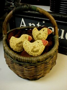 PrimiTive Folkart PATTERN ONLY 3 Baby Hooked Rug Chicks Ornaments Bowlfillers  BeaconhillCollectibles Hooked Rugs via Etsy
