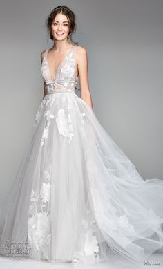 willow by watters spring 2018 sleeveless deep v neck heavily embellished bodice romantic soft a  line wedding dress v back sweep train (1) mv -- Willowby by Watters Spring 2018 Wedding Dresses #wedding #bridal #weddings