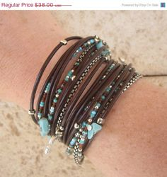 Love leather and beads together. Especially turquoise.