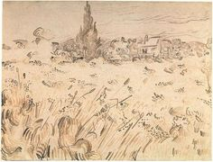 Vincent van Gogh Wheat Field with Cypresses Drawing