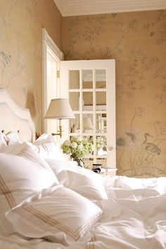 White and straw color, like the walls