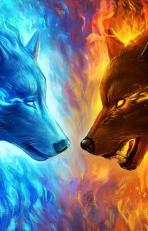 fire and ice wolf tattoos - Yahoo Search Results Yahoo Image Search Results Cute Fantasy Creatures, Mythical Creatures Art, Mystical Animals, Wolf Wallpaper, Animal Wallpaper, Wallpaper Wallpapers, Galaxy Wolf, Wolf Artwork, Wolf Painting