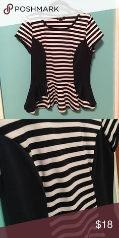 Peplum top Navy and white striped peplum top, slimming fit. ☺️ jcpenney Tops Blouses