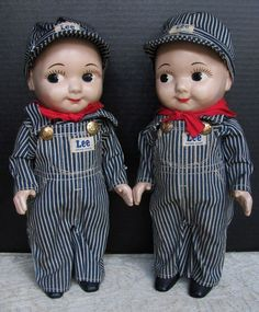 "PAIR of ""Buddy Lee"" Twin Railroad Engineer Dolls_MINT CONDITION_Lee Jeans Advertising Dolls"