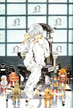 death note nate river obata takeshi high resolution very high resolution scan black eyes chair grey hair male sitting sitting on chair solo potential duplicate Death Note Anime, Death Note Near, Death Note デスノート, Me Anime, Manga Anime, Poster Anime, Tsugumi Ohba, Overwatch, Nate River