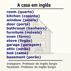 A casa em inglês #aprenderinglês #inglêsparabrasileiros #inglês English Help, English Course, Learn English Words, English Tips, English Book, English Study, English Lessons, Portuguese Lessons, Learn Portuguese