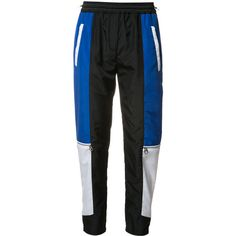 Versace colour block paneled track pants (€1.350) ❤ liked on Polyvore featuring activewear, activewear pants, black, versace and track pants
