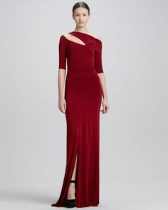 Half-Sleeve Cold-Shoulder Evening Gown, Red by Donna Karan at Neiman Marcus.