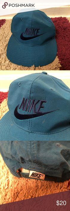56ac105cb8d Vintage Nike Air Swoosh Snapback Hat Cap Vintage Nike Snapback Baseball Hat  Cap Teal Green Swoosh Logo 80s 90s Vtg Nike Accessories Hats