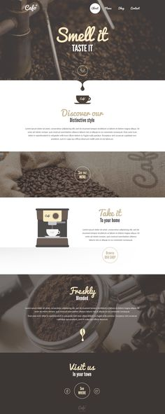 Smell it – Coffee Shop Landingpage Idea. on Inspirationde