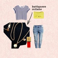 Battiquore Milano by m-valentina on Polyvore featuring moda, H&M, Chanel, Yves Saint Laurent and Beacon