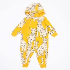 MINI RODINI SNOW LEOPARD ONESIE YELLOW
