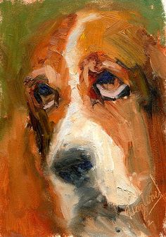 Dog Painting 5x7 oil painting Dog Painting Brown Basset Hound