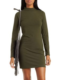 Mock Neck Bodycon Dress by Charlotte Russe - Olive Khaki Green Dress, Dress Skirt, Bodycon Dress, Charlotte Russe Dresses, Mock Neck, High Neck Dress, Dress Long, Pretty, Skirts